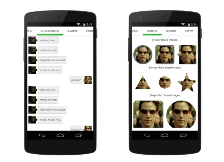 Custom shaped android imageview components