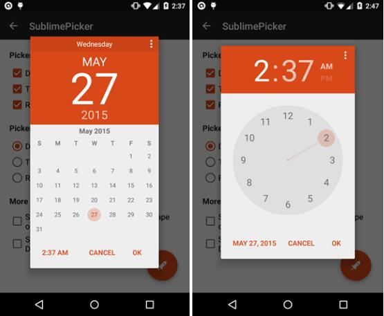 pick a date or time on android in material style