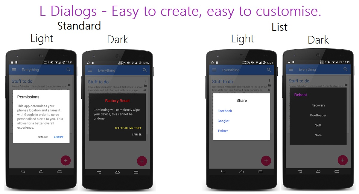 A small library replicating the new dialogs in android L