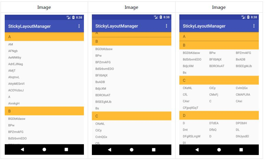 An android recyclerview sticky item view layout manager library