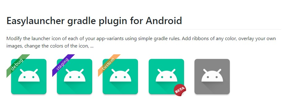 Add a different ribbon to each of your Android app variants using this gradle plugin
