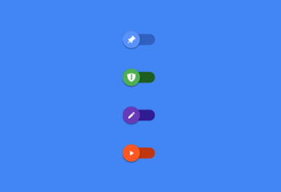 A material Switch with icon animations and color transitions