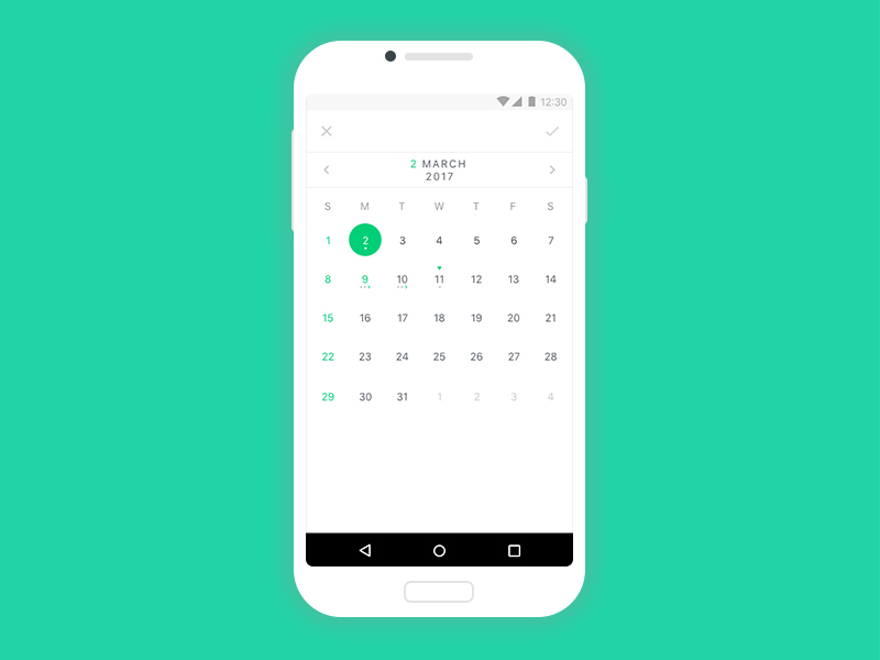 A fully customizable calendar with a wide variety of features and displaying modes