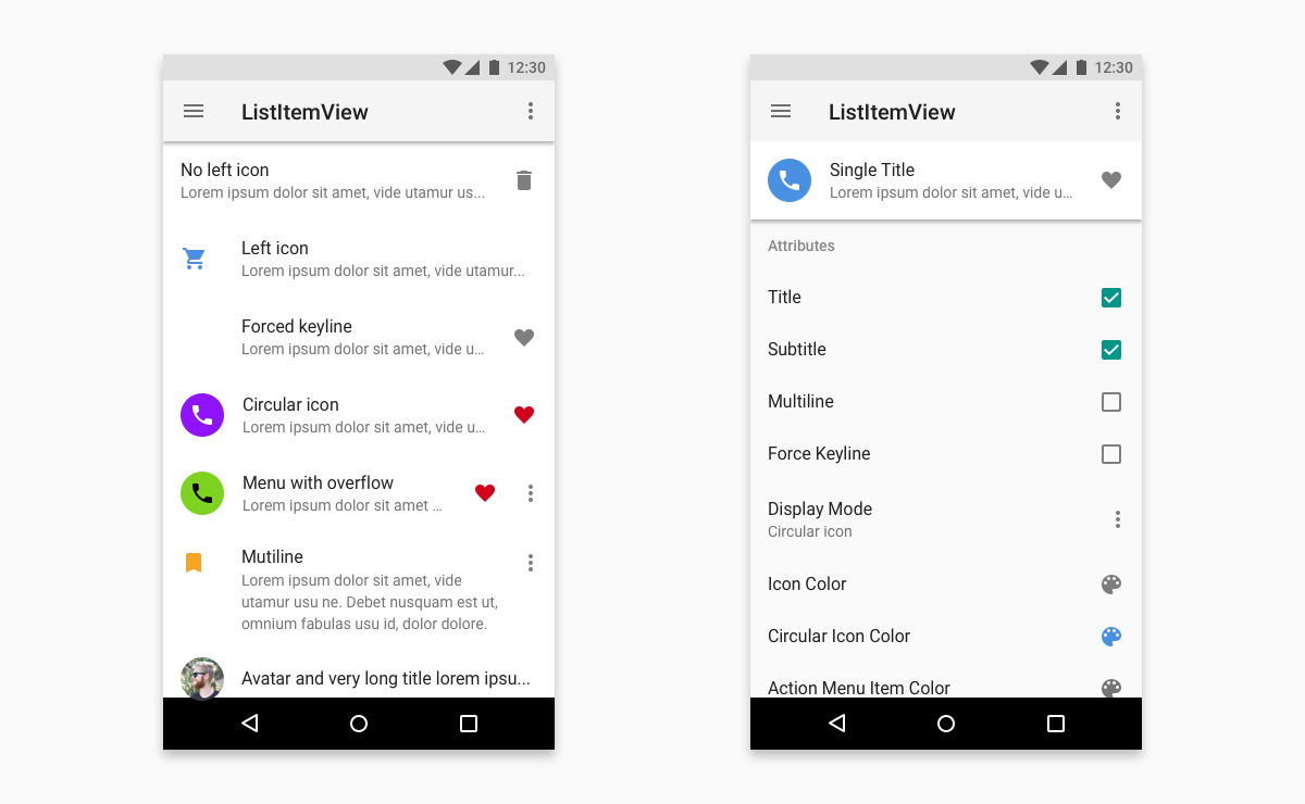 Implementation of List Item from Material Design