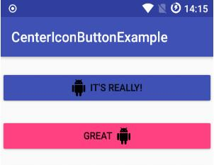 App Compat Button with centered text and icon