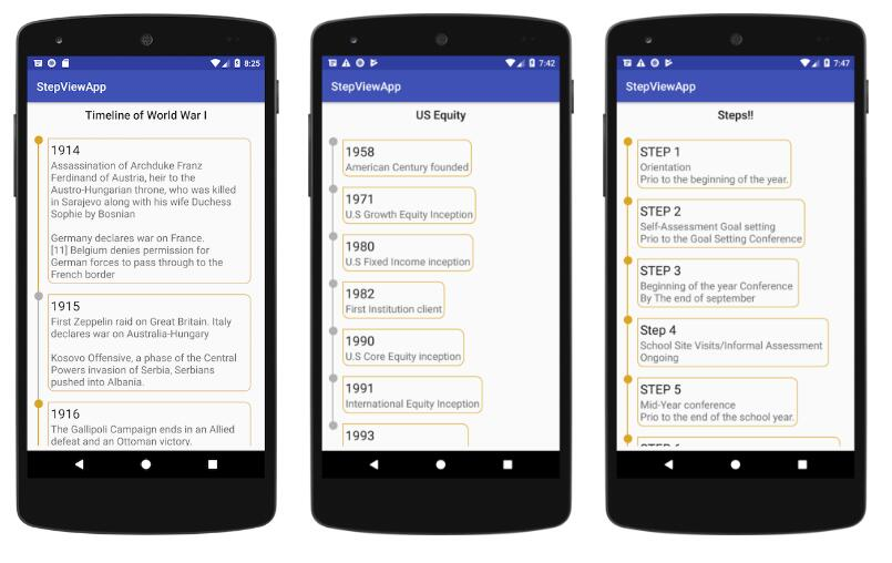Android Timeline View Library demonstrate the the power of ConstraintnLayout