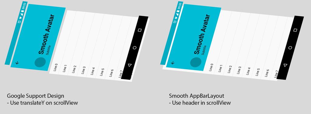 Smooth version of Google Support Design AppBarLayout