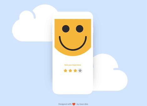 A custom android Rating view with Interactive Smiles