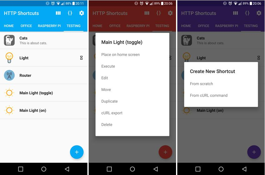 Android app to create home screen shortcuts that trigger arbitrary HTTP requests