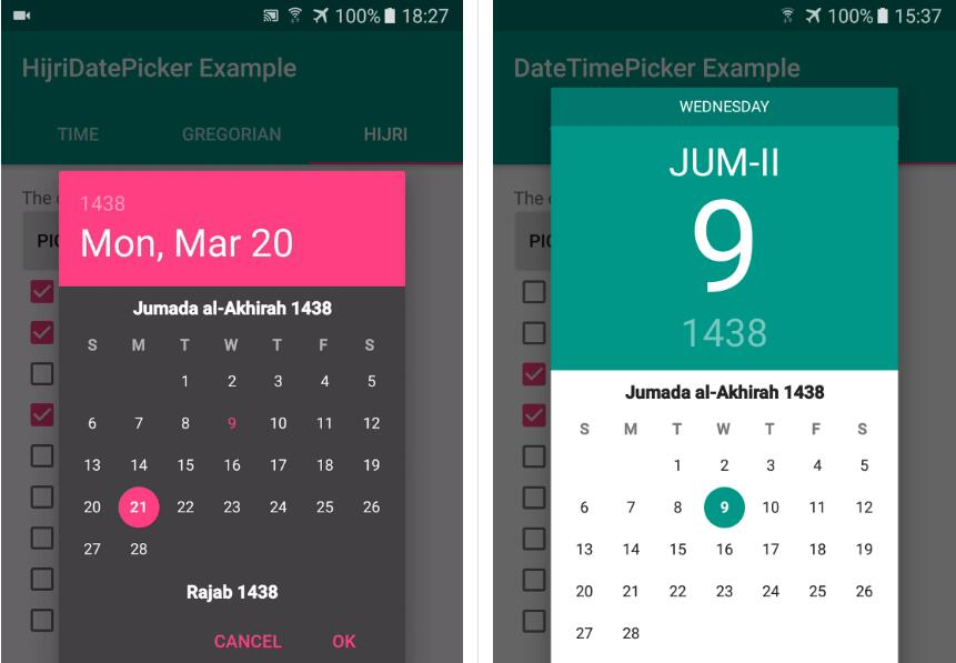 Material Design Date and Time Picker