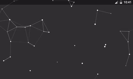 Draws random flying particles in space forming constellations