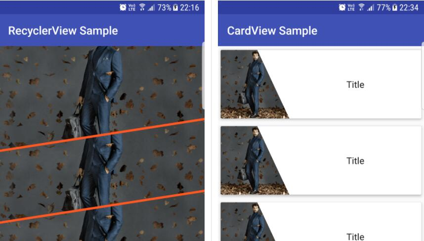 A simple imageview which allows you to create diagonal cut views easily