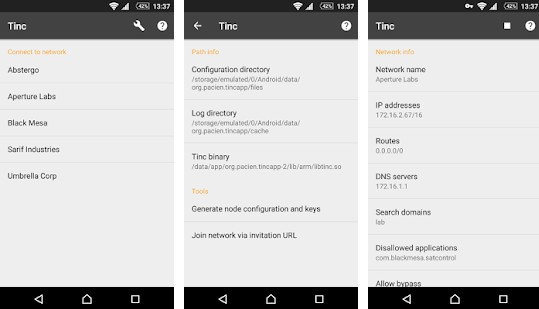 Android binding and user interface for the tinc mesh VPN daemo
