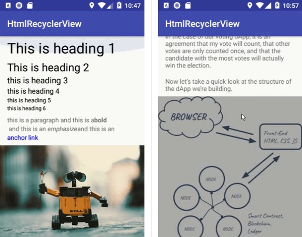A simple html page into A RecyclerView of Native android widgets