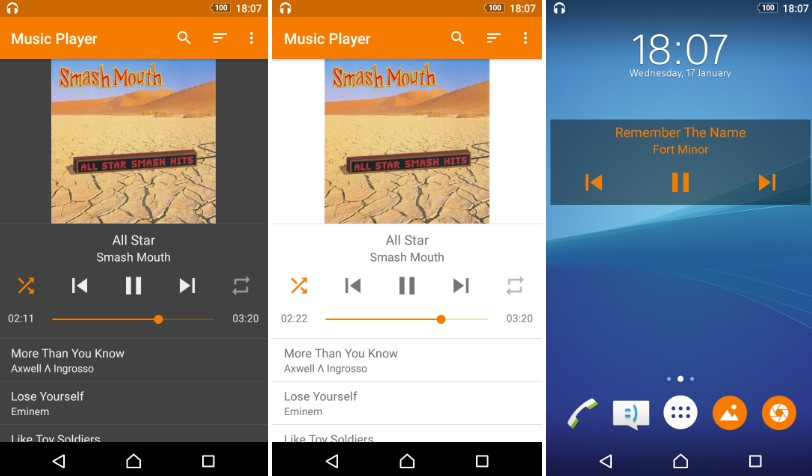 A clean music player with a customizable widget
