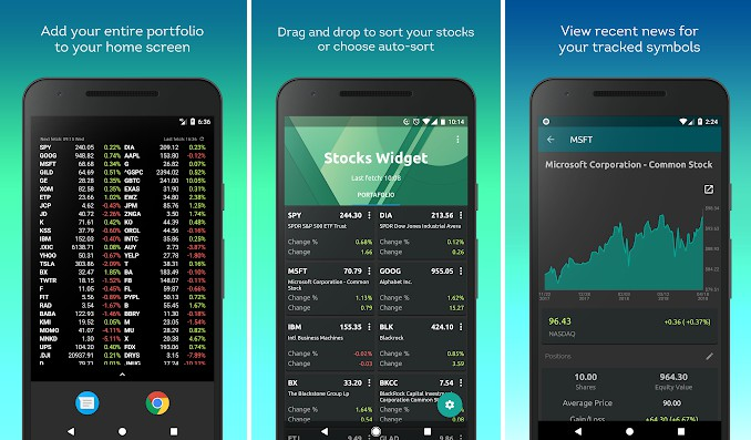 A resizable widget that shows your financial portfolio on your android home screen