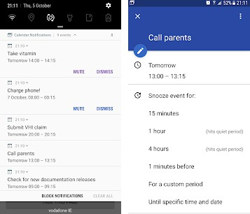 Android app extending calendar notifications with snooze button and notifications