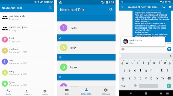 Video & audio calls through Nextcloud on Android