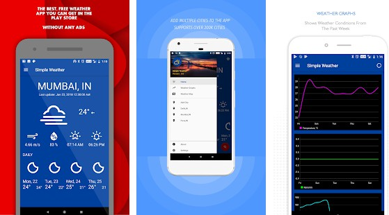 A Simple Weather app built using Android