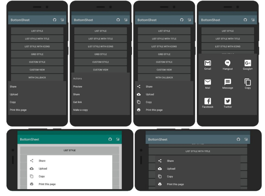 BottomSheet dialog library for Android