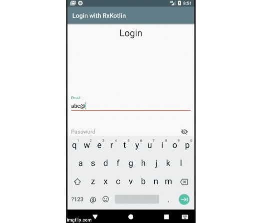 Android App that implements RxKotlin and RxBinding for a Login screen