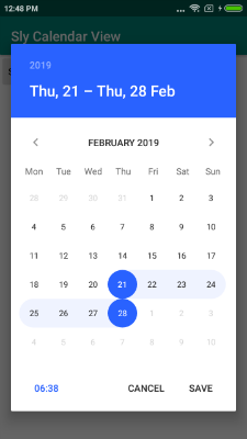 A calendar that allows you to select both a single date and a period