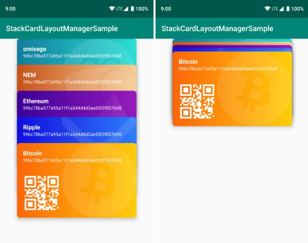 The movement of a new card type UI for Android