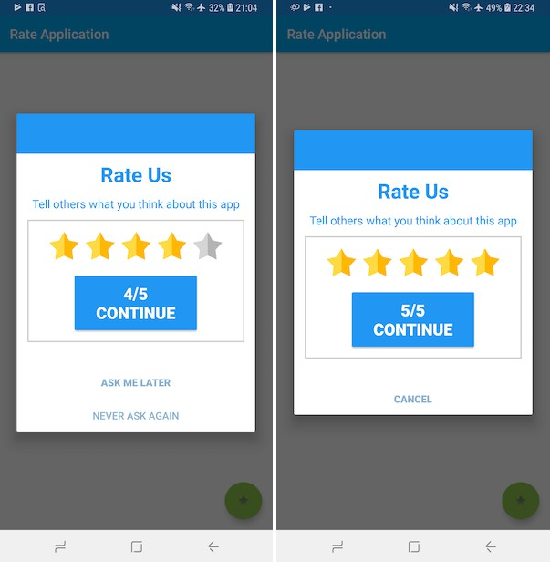Library for android application to implements smart rate dialog