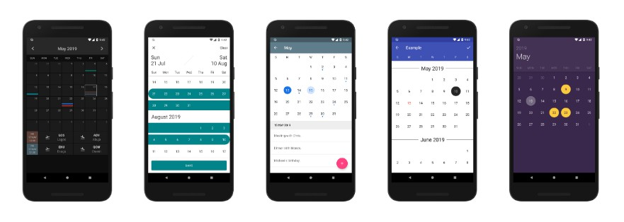 A highly customizable calendar library for Android