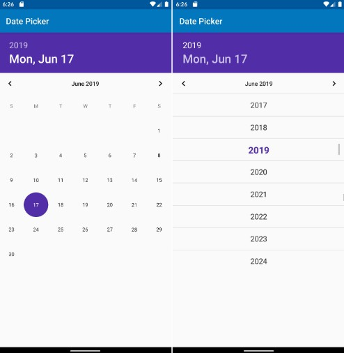 Custom responsive date picker widget for Android
