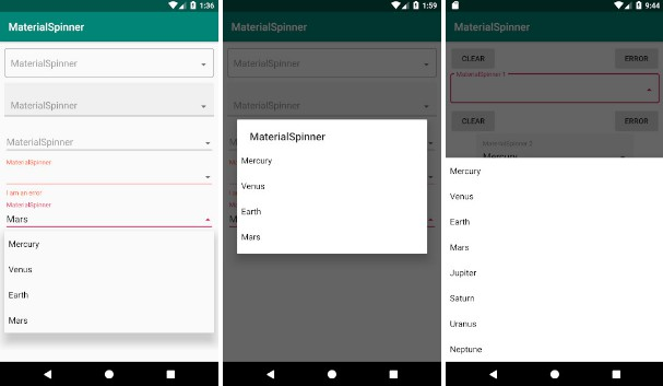 Implementation of a Material Spinner for Android wich supports TextInputLayout functionalities