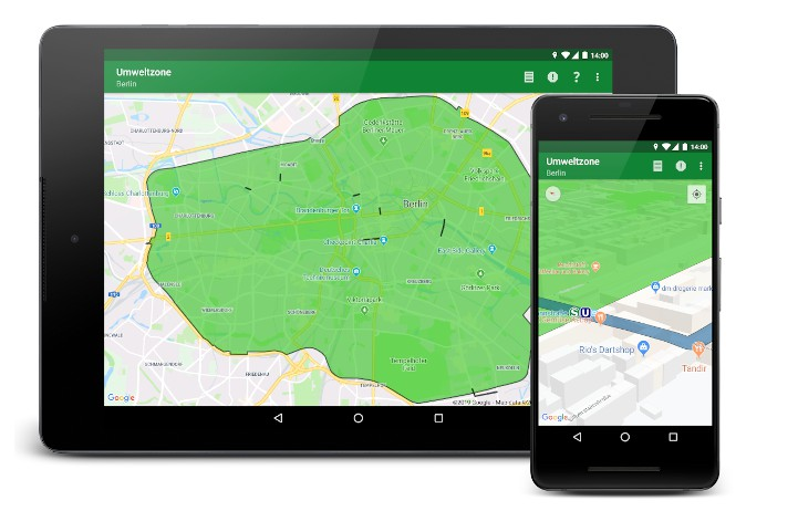 Low emission zones and Diesel prohibitions zones on Android