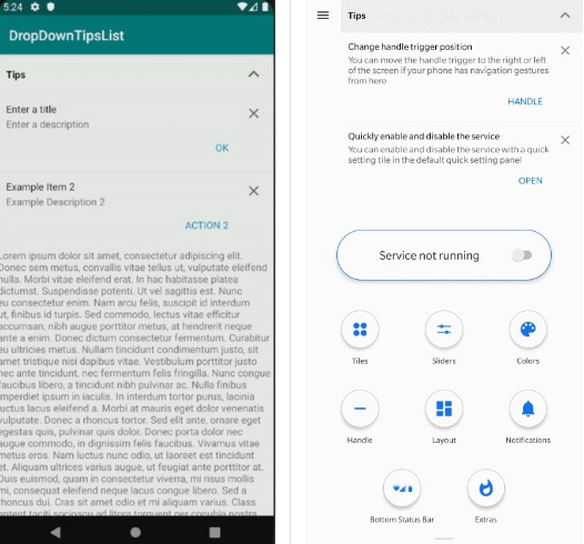 Android Drop Down Tips List: A library for showing app tips on Android