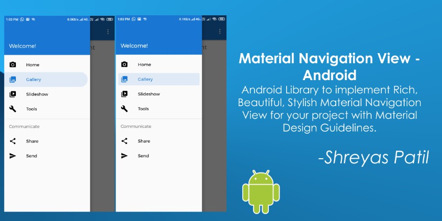Material NavigationView for Android