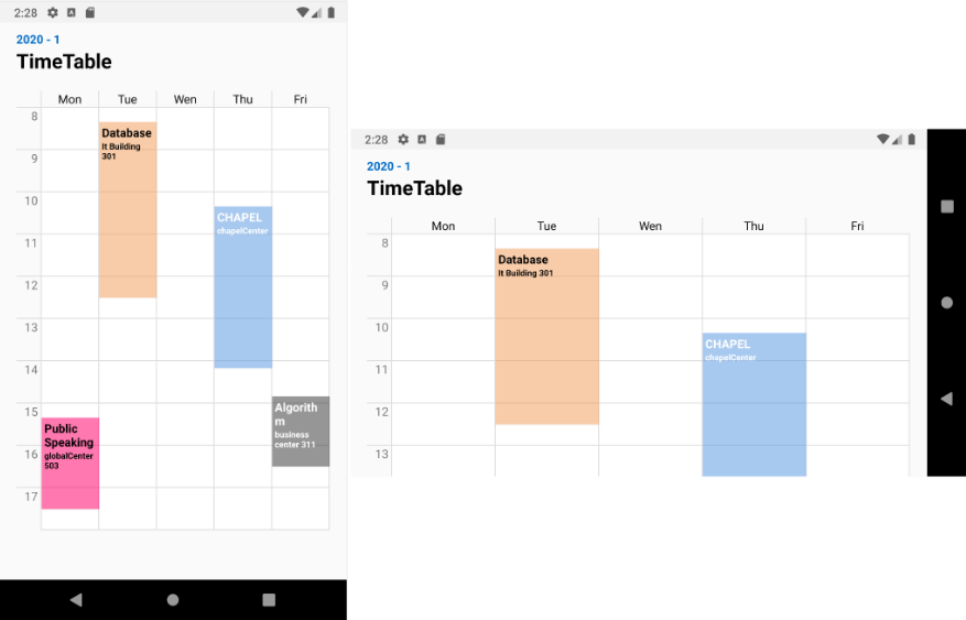 Customizable TimeTableView for Android
