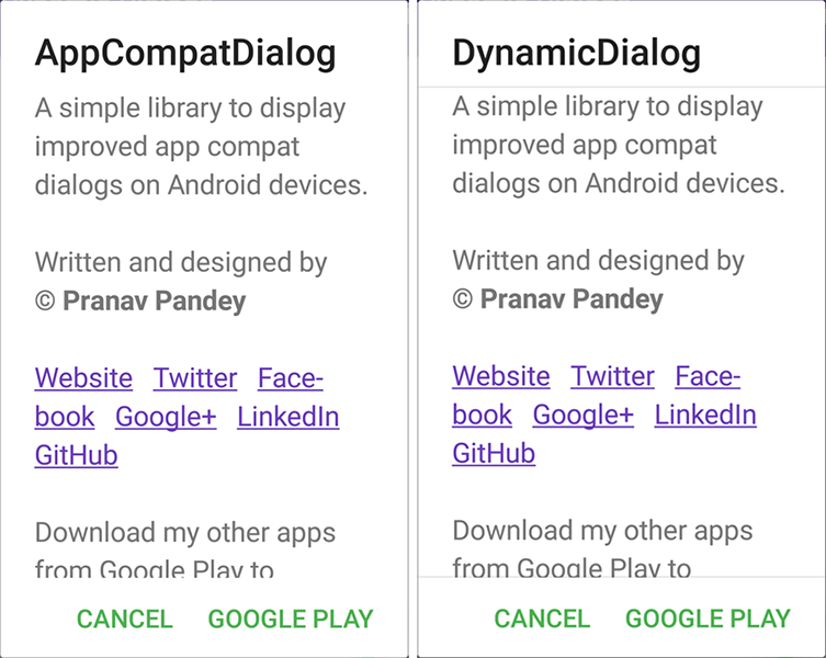 Improved dialogs and dialog fragments for Android