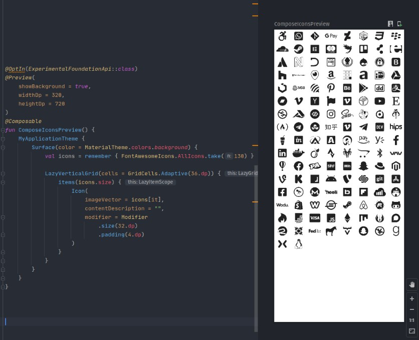 Open Source icon packs for Jetpack Compose