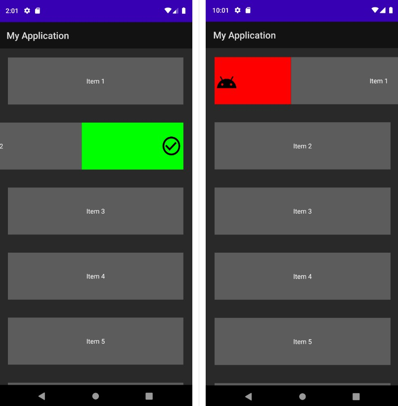 Simple to use swipe gestures for an Android RecyclerView
